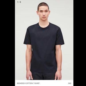 COS Men's Bonded Cotton T Shirt Black Medium